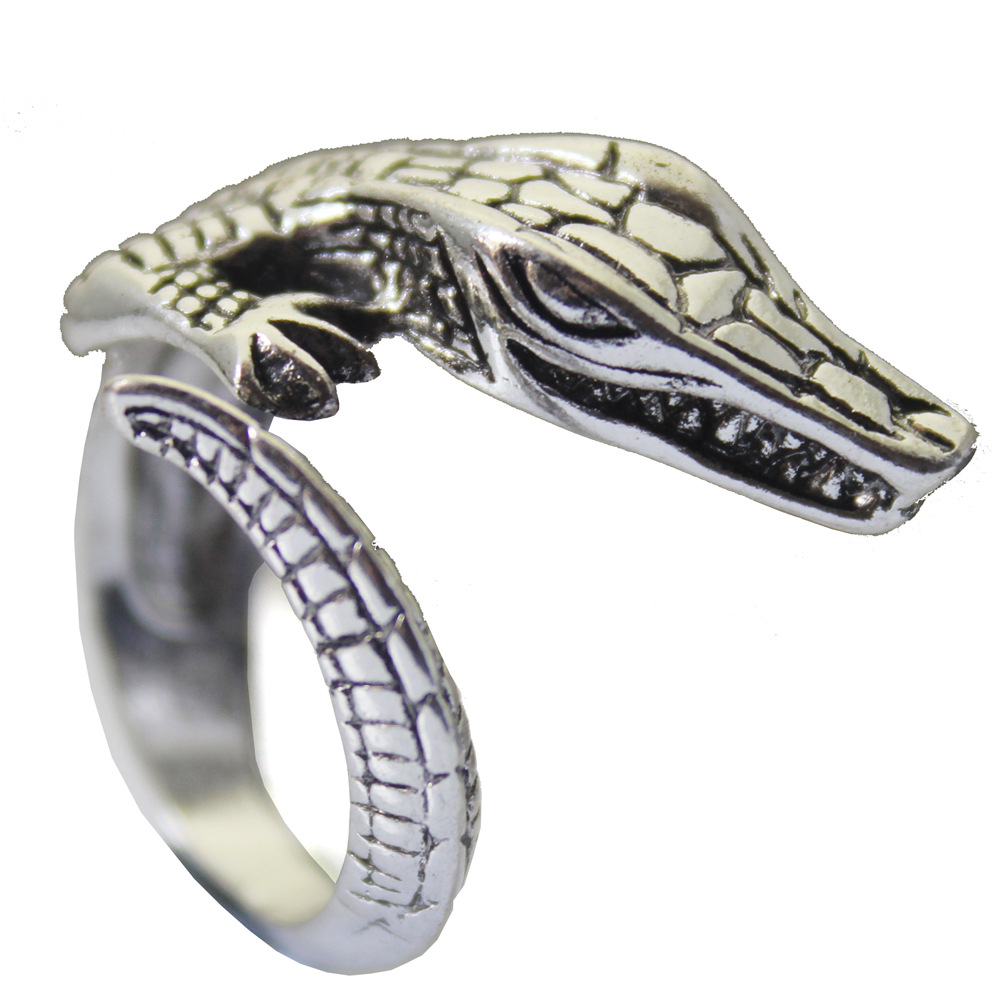 hiphop Crocodile opening ring men's jewelry