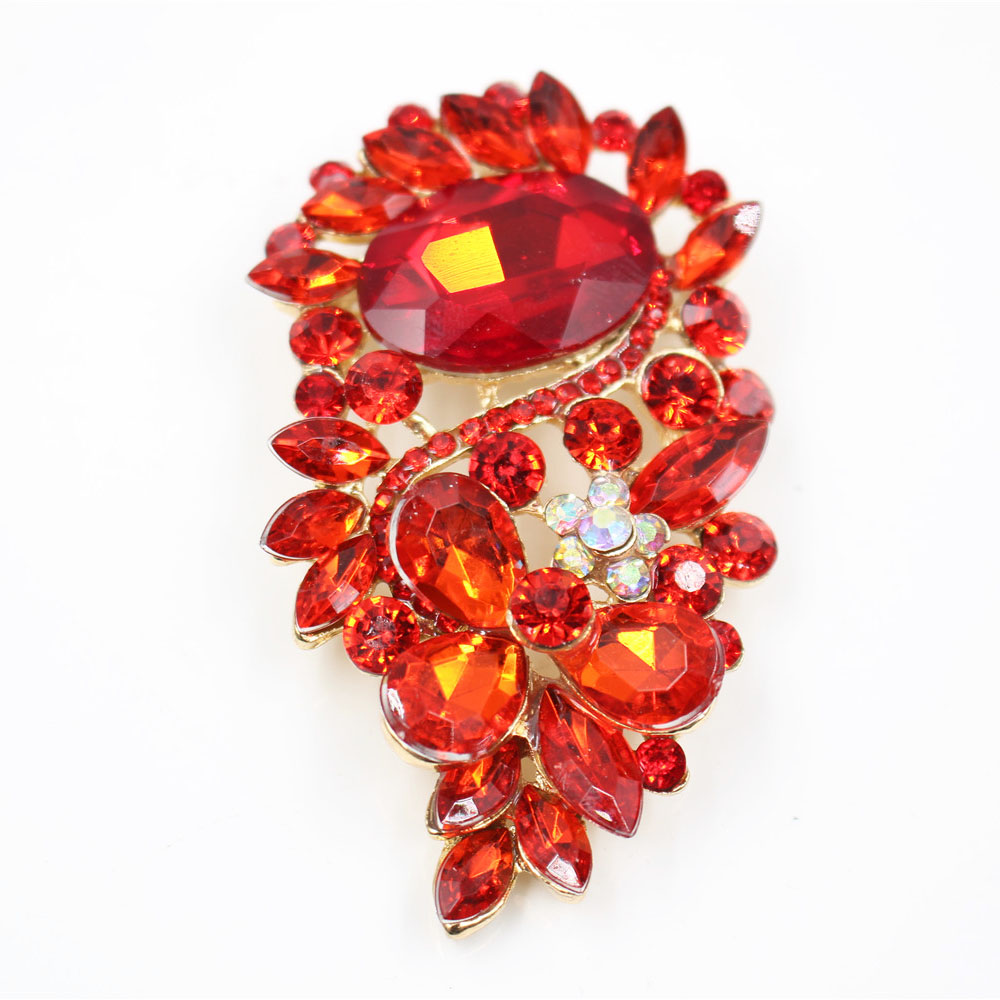 Colorful Crystal Diamante Brooch Pins Fashion Flower Brooch Pins Jewelry for Lady in Various Colors