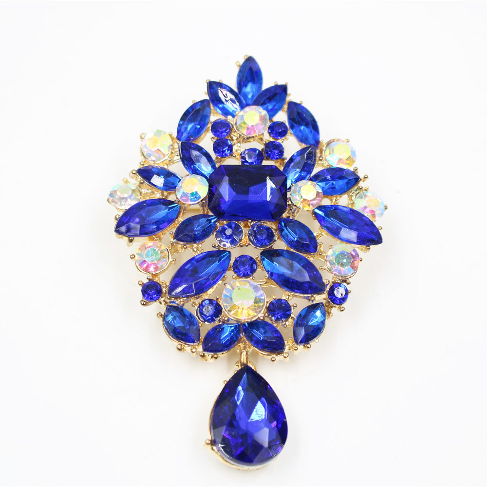 New trendy boho Colorful Crystal Flower Brooch Pin Jewelry for Women Cloth and Scarf