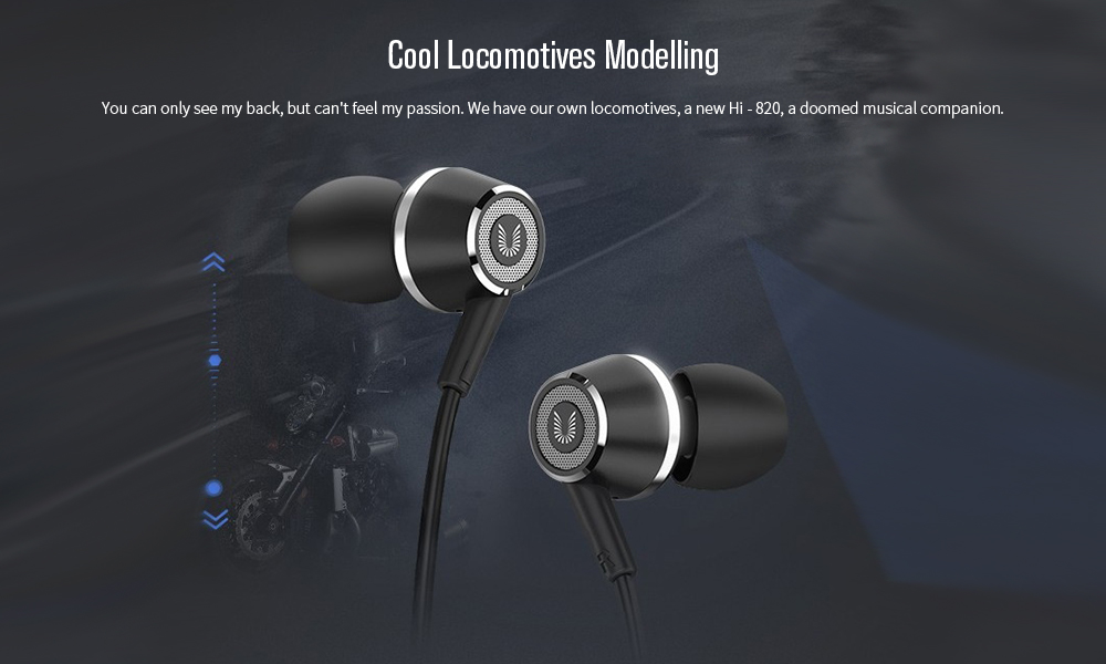 UIISII Hi - 820 In-ear Wired Stereo Bass Earphones with Mic- Black