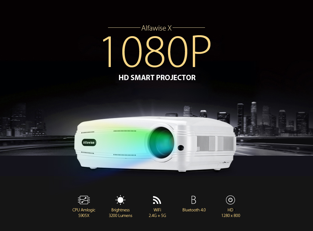 Alfawise X LCD Projector HD 1080P / 3200 Lumen / Dual Band WiFi / Bluetooth 4.0 Support 4K