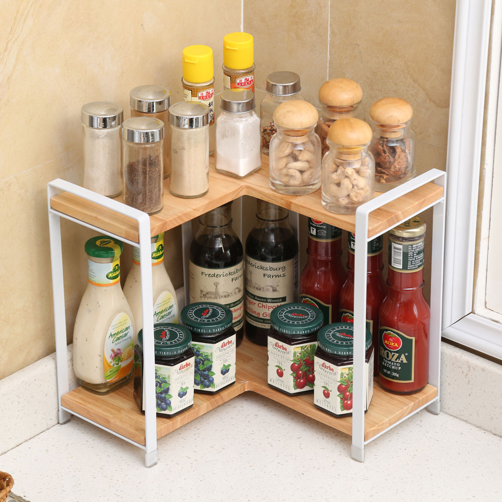 Woodworking Plans For Kitchen Spice Rack: 2 Tier Right Angle Wooden Spice Rack Free Standing Home