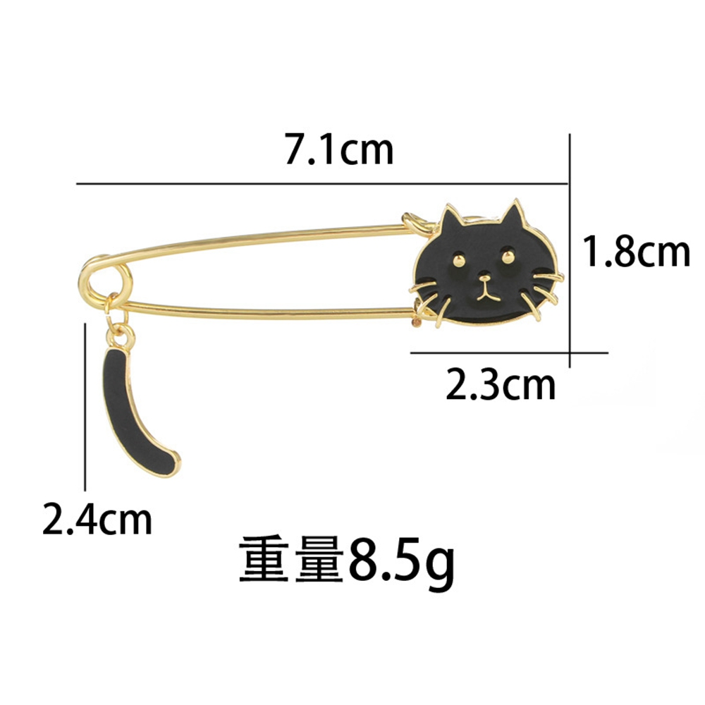 2Pcs Women's Brooches  Hollow Out Cute Cat Shaped All Match Brooch Accessory