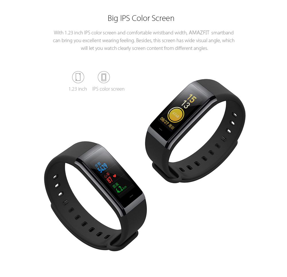 HUAMI AMAZFIT Smartband Bluetooth 4.1 50 Meters Waterproof IPS Screen Heart Rate / Sleep Monitor