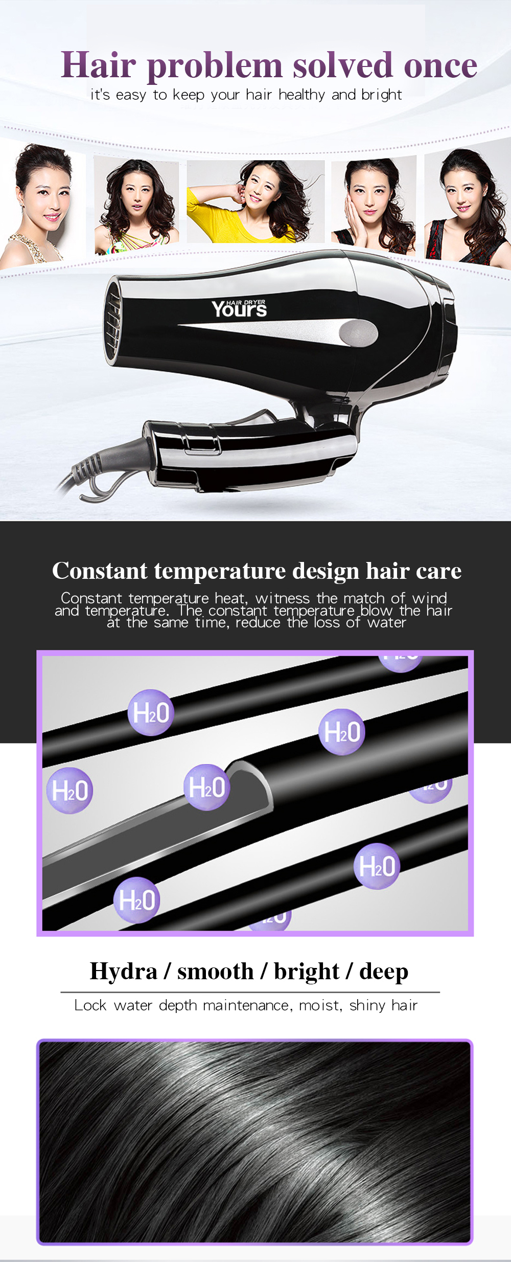 YOURS Hair Dryer Compact Hair Blower Home Use Blow Dryer Foldable Mini Hair Styling Tool YR-6232 Black- Black