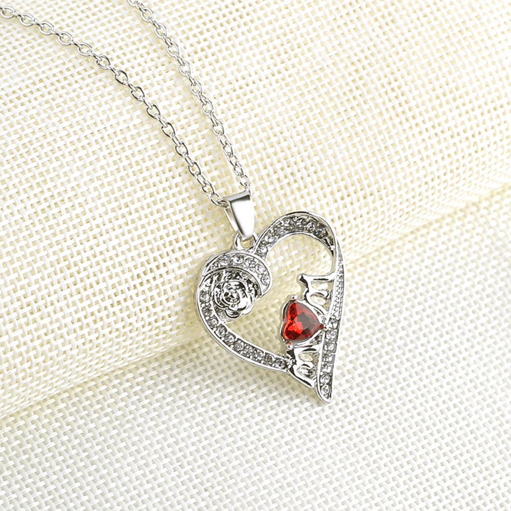 Womens silver plated necklace chain red crystal crystal heart womens silver plated necklace chain red crystal crystal heart pendant necklace aloadofball Image collections