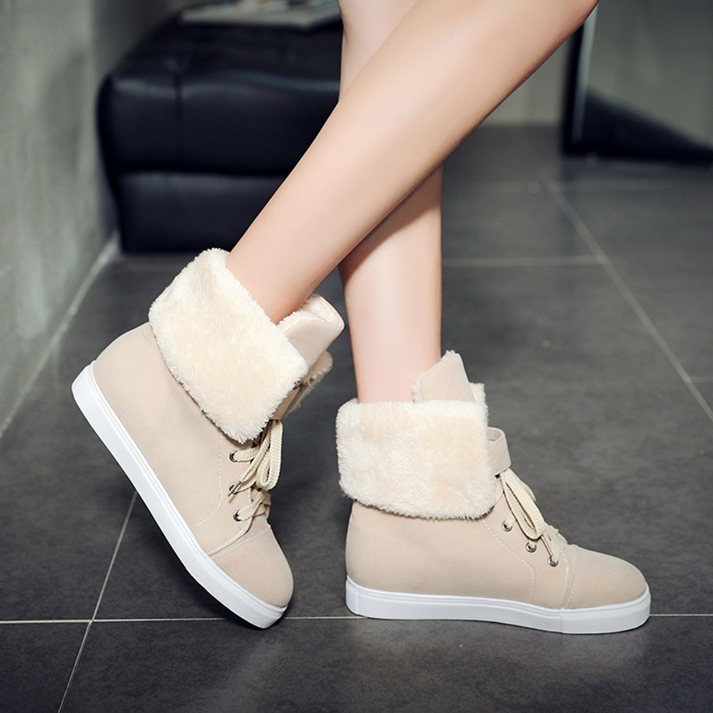 New Shoes Woman Big Size Faux Suede Flat Heel Round Toe  Snow Boots
