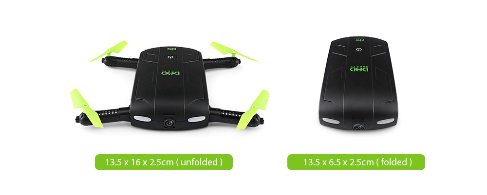 DHD D5 Mini Foldable RC Pocket Quadcopter BNF WiFi FPV 0.3MP Camera / G-sensor Mode / Waypoints- Black