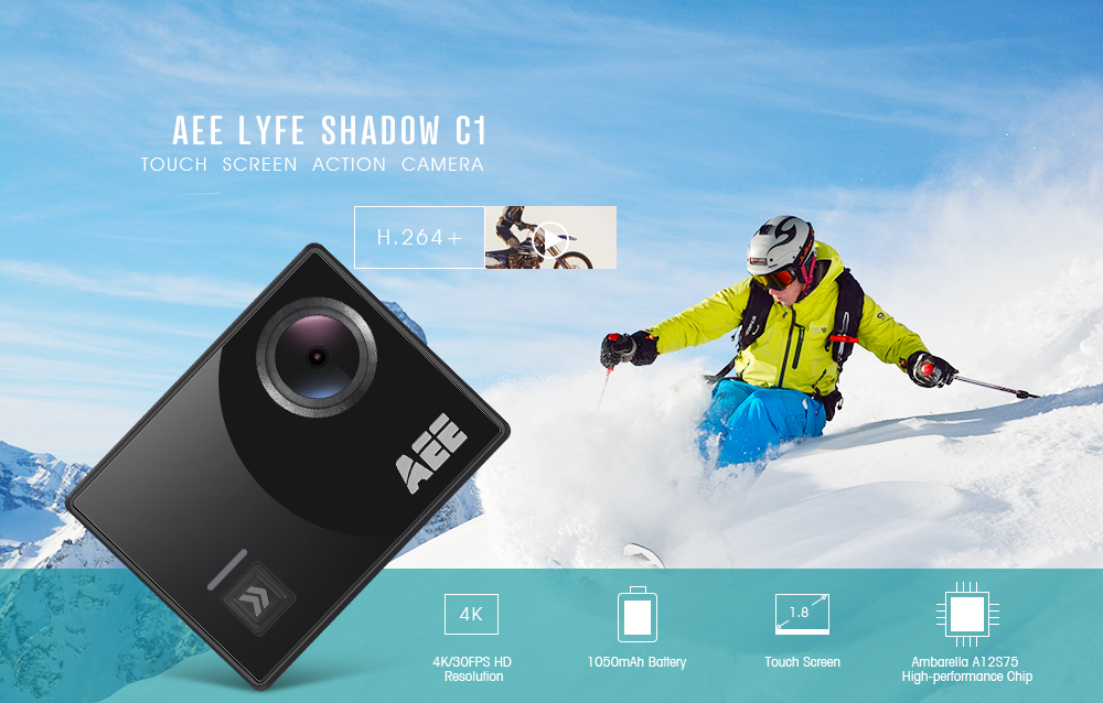 AEE Lyfe Shadow C1 Ambarella A12S75 Touch Screen Action Camera