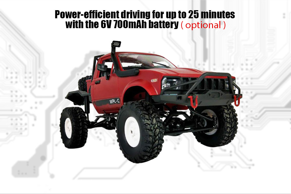 WPL C14 1:16 2.4G 2CH 4WD Mini Off-road RC Semi-truck with Metal Chassis / TPR Tires / 15km/h Top Speed- Red RTR