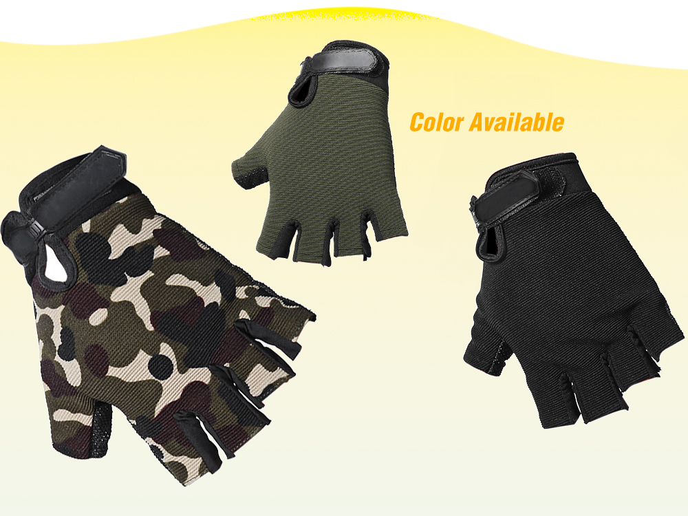 Pair of Male Half-finger Sports Cycling Gloves Breathable with Magic Sticker- ACU Camouflage M