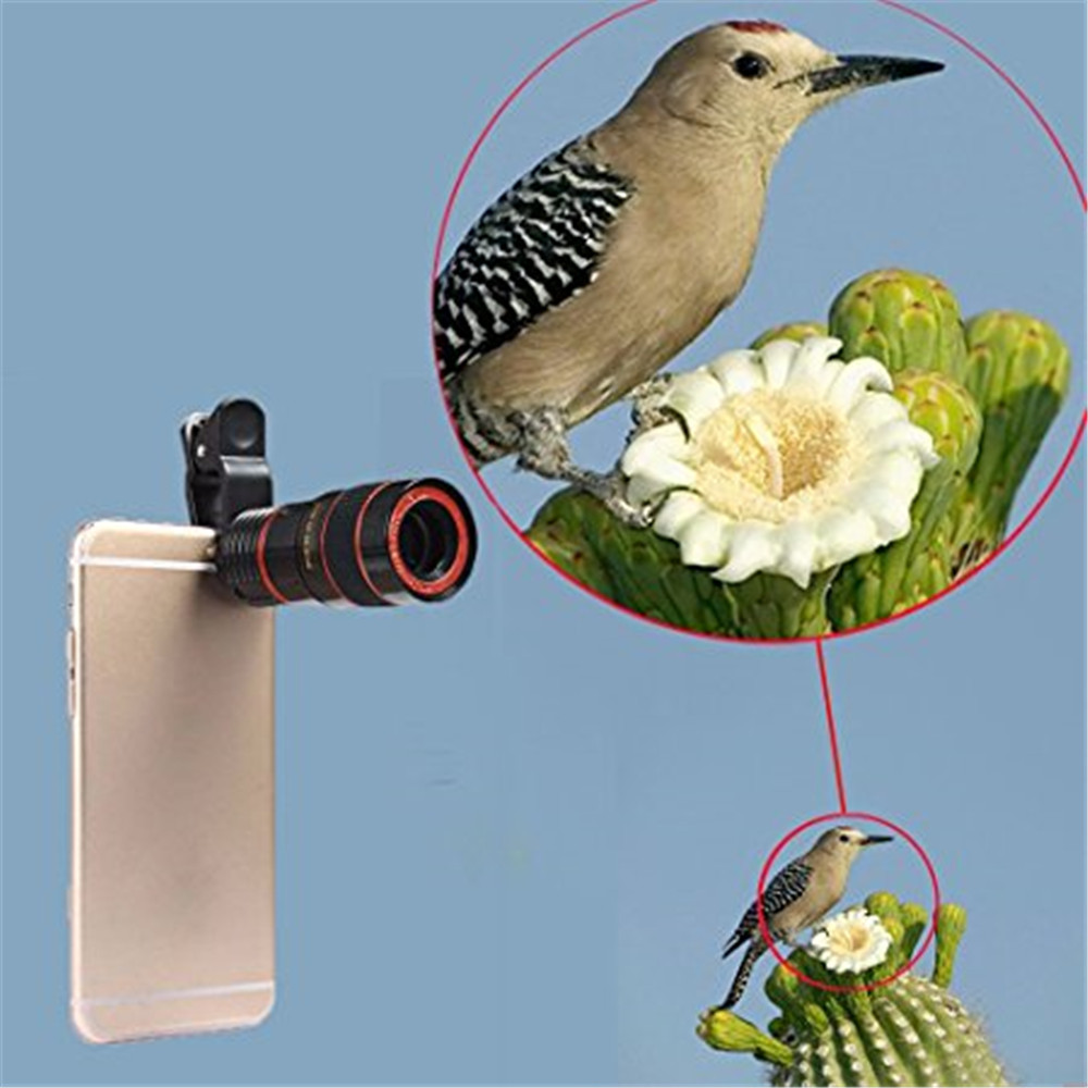 Universal 8x Optical Zoom Telescope Camera Lens Clip Mobile Phone With Clamp Black For Xiaomi Huawei
