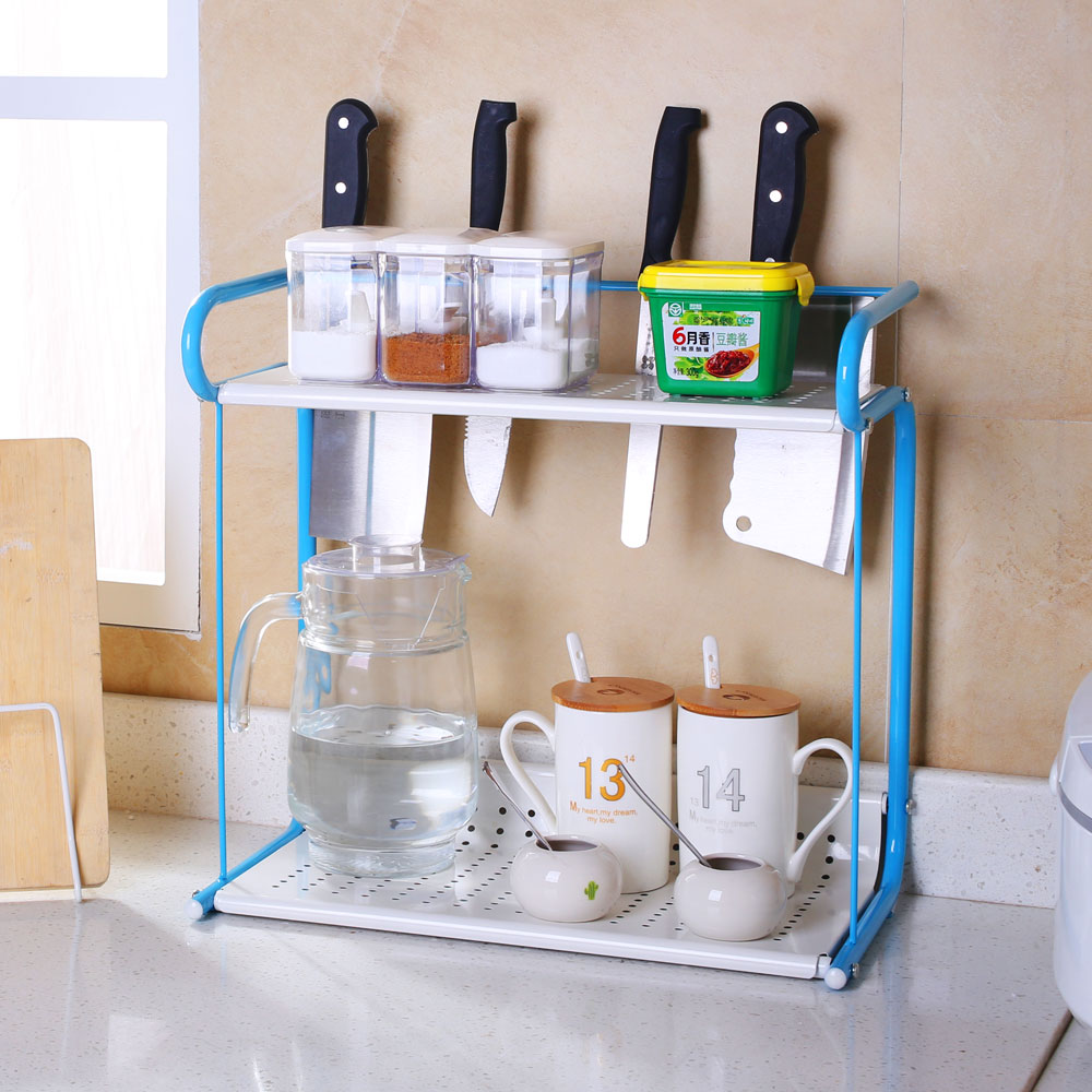 2 Tier Rack Kitchen Bathroom Countertop Storage Organizer Spice Jars Bottle  Standing Shelf