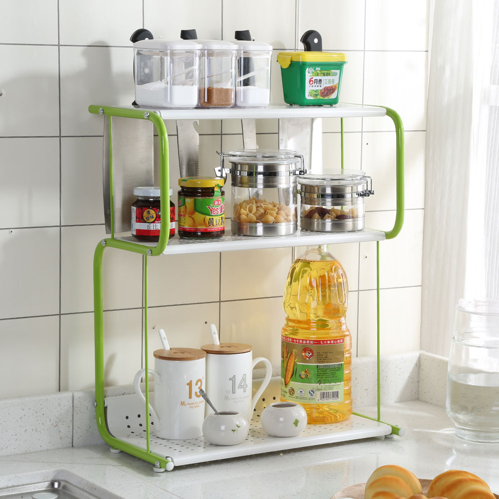 3 Tier Rack Kitchen Bathroom Countertop Storage Organizer Spice Jars Bottle  Standing Shelf