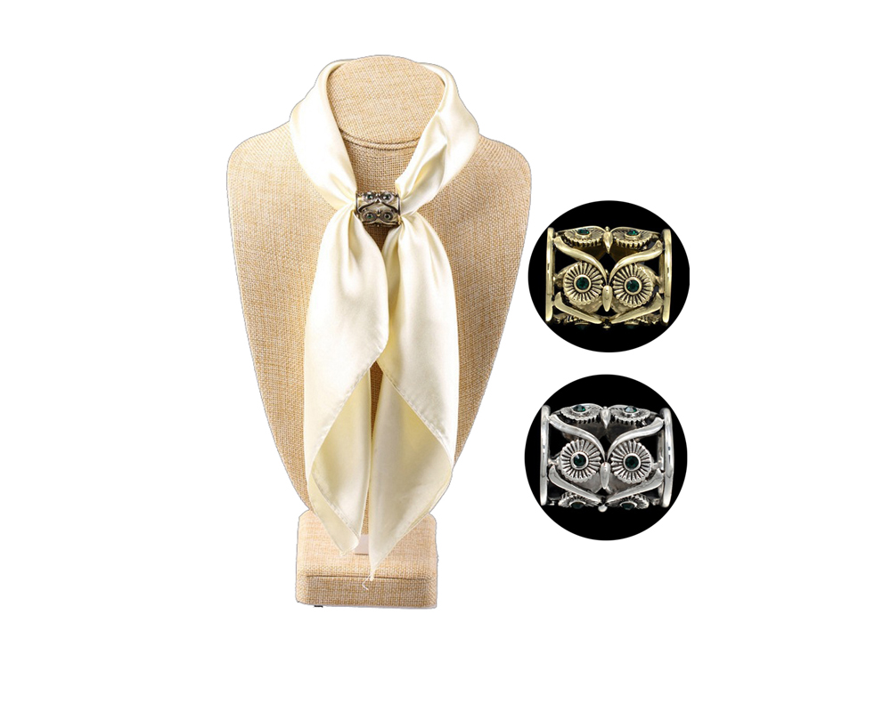 new Retro hollow OWL European fashion scarves beautifully tube scarf buckle clothing accessories for woman brooch