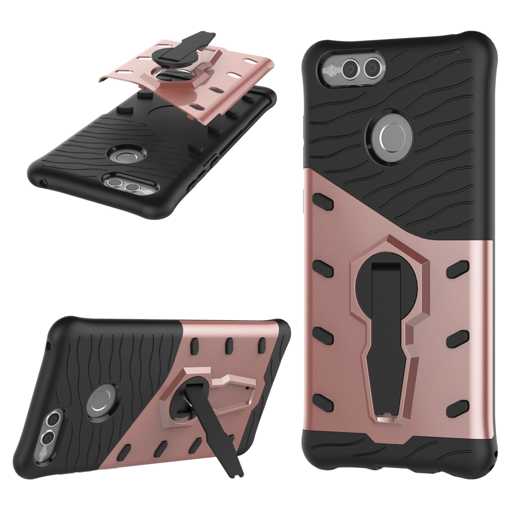 Hybrid Armor 360 Stand Cover TPU+PC Shockproof Back Case for Huawei Honor 7X