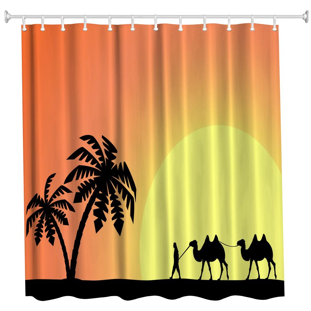 Silhouette Camel Polyester Shower Curtain Bathroom High Definition 3D Printing Water Proof Colormix