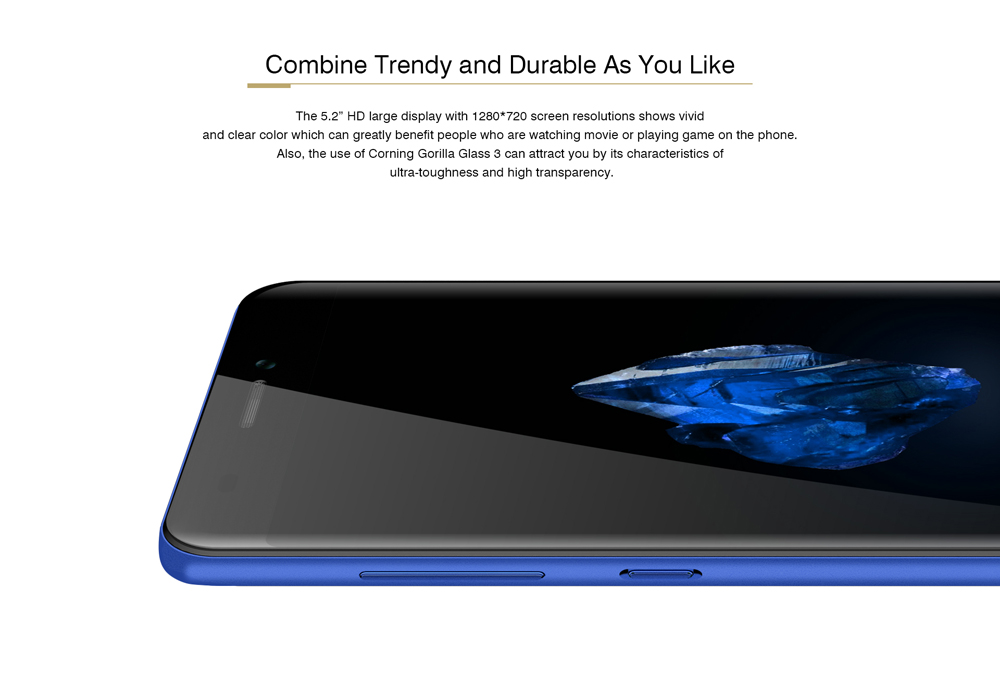 Bluboo D2 3G Smartphone 5.2 inch Android 6.0 MTK6580A Quad Core 1.3GHz 1GB RAM 8GB ROM Dual Rear Cameras Hotspot Corning Gorilla Glass 3 Screen