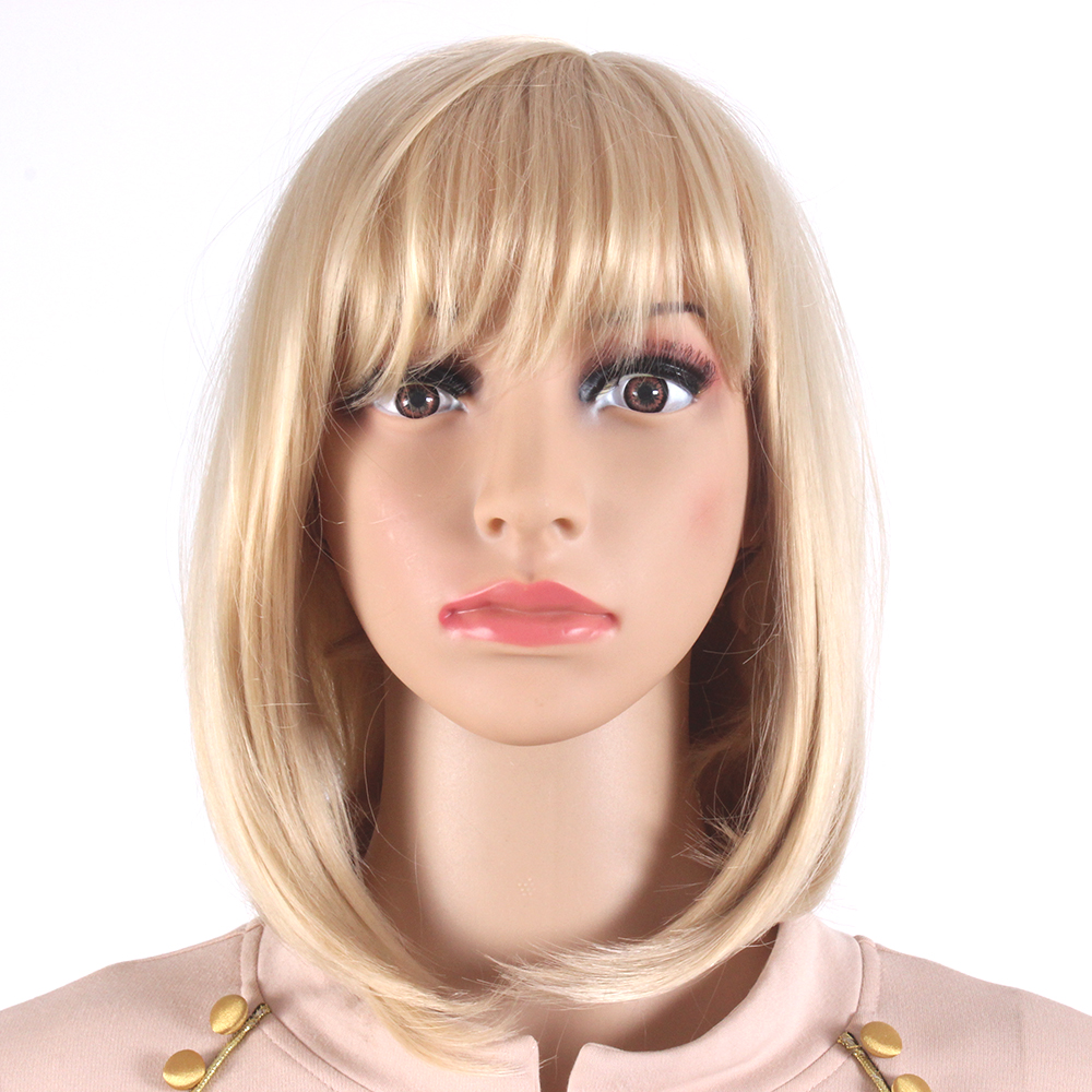 Bob Style Medium Length Blonde Wigs For Women Heat Resistant Synthetic Hair Wigs Sw0020j O Sale Price Reviews Gearbest