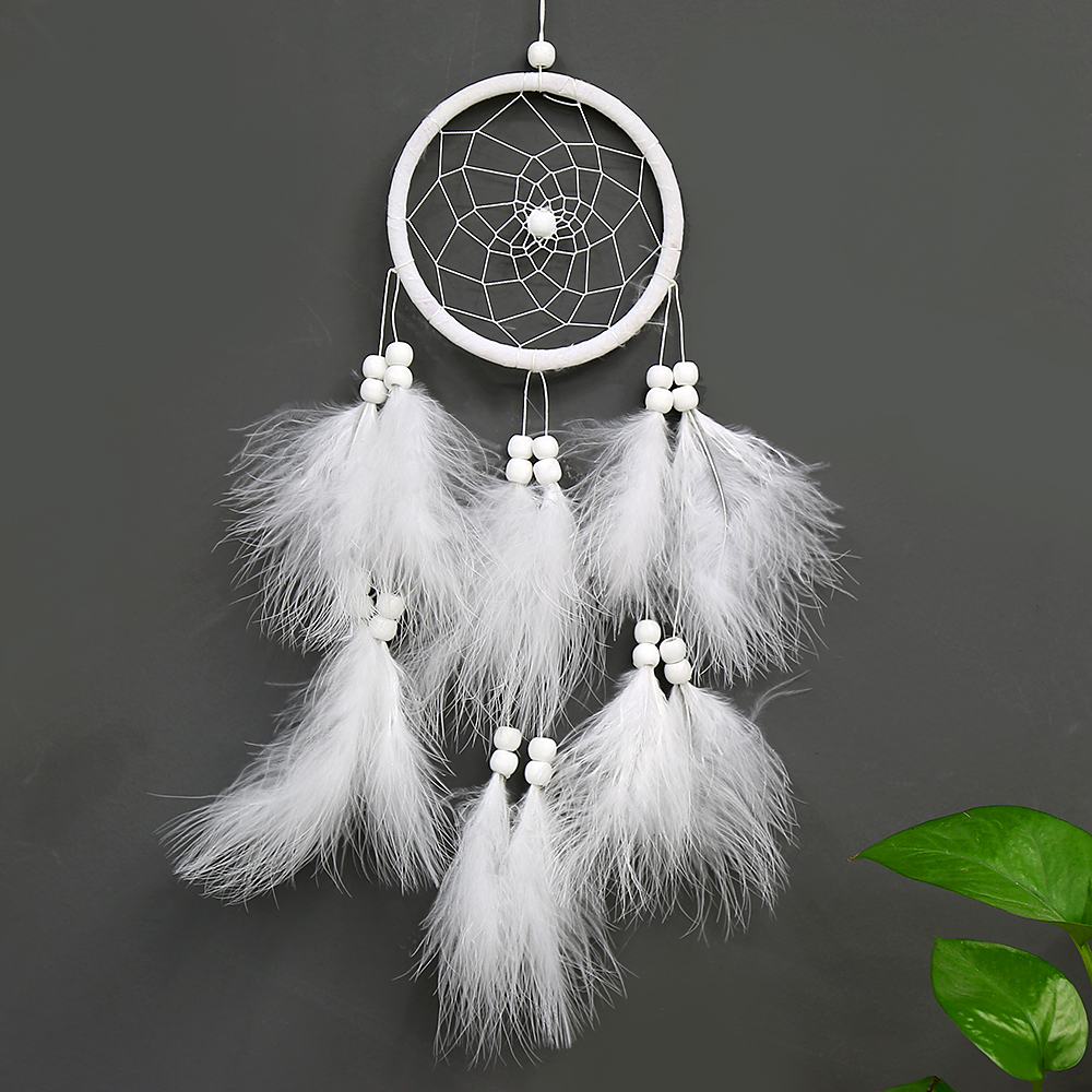 Oc3026 Creative New White Dream Catcher Feather Wall Hang Fashion Home Decoration Children Gift