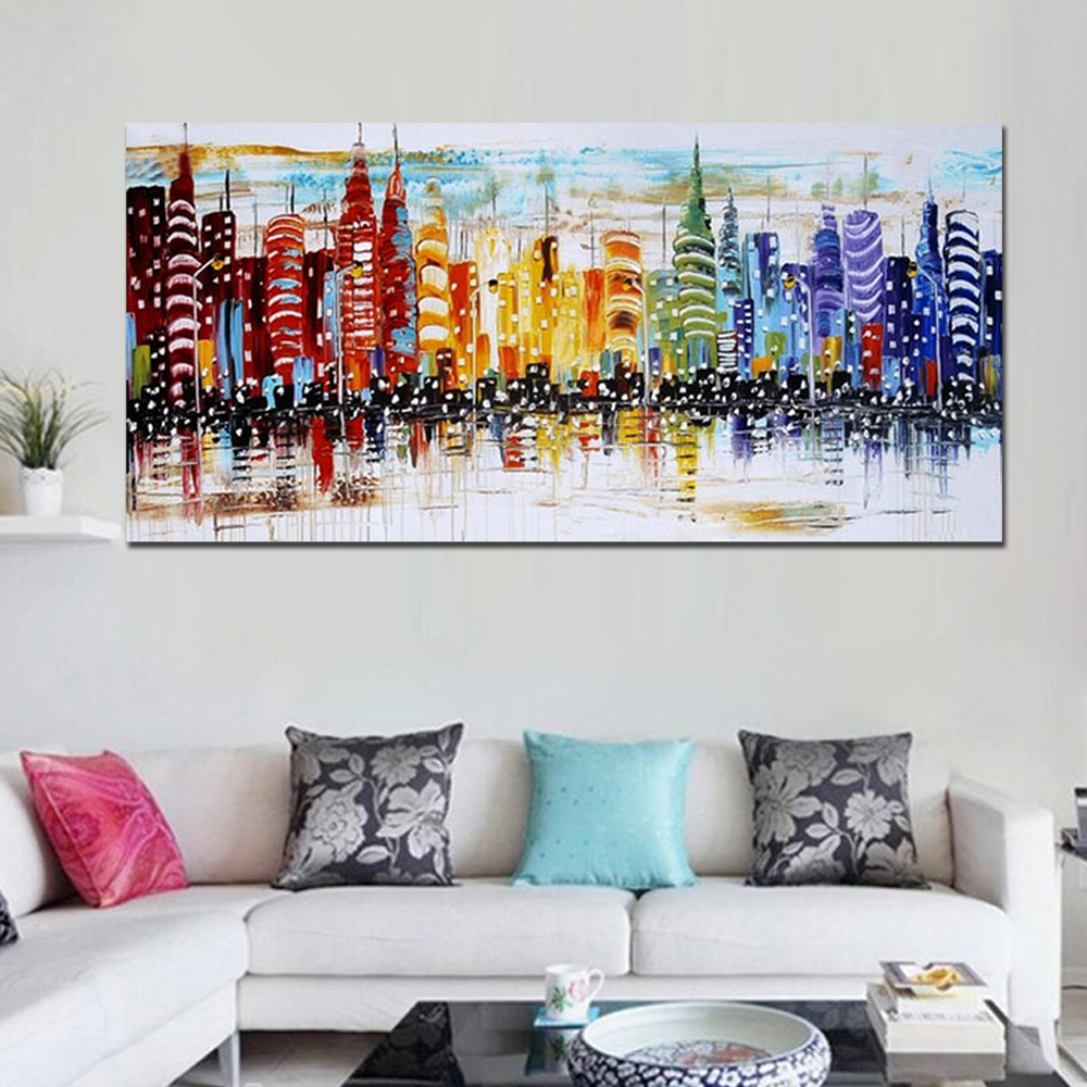 Hand Painted Abstract Colorful Buildings Landscape Oil Painting on ...