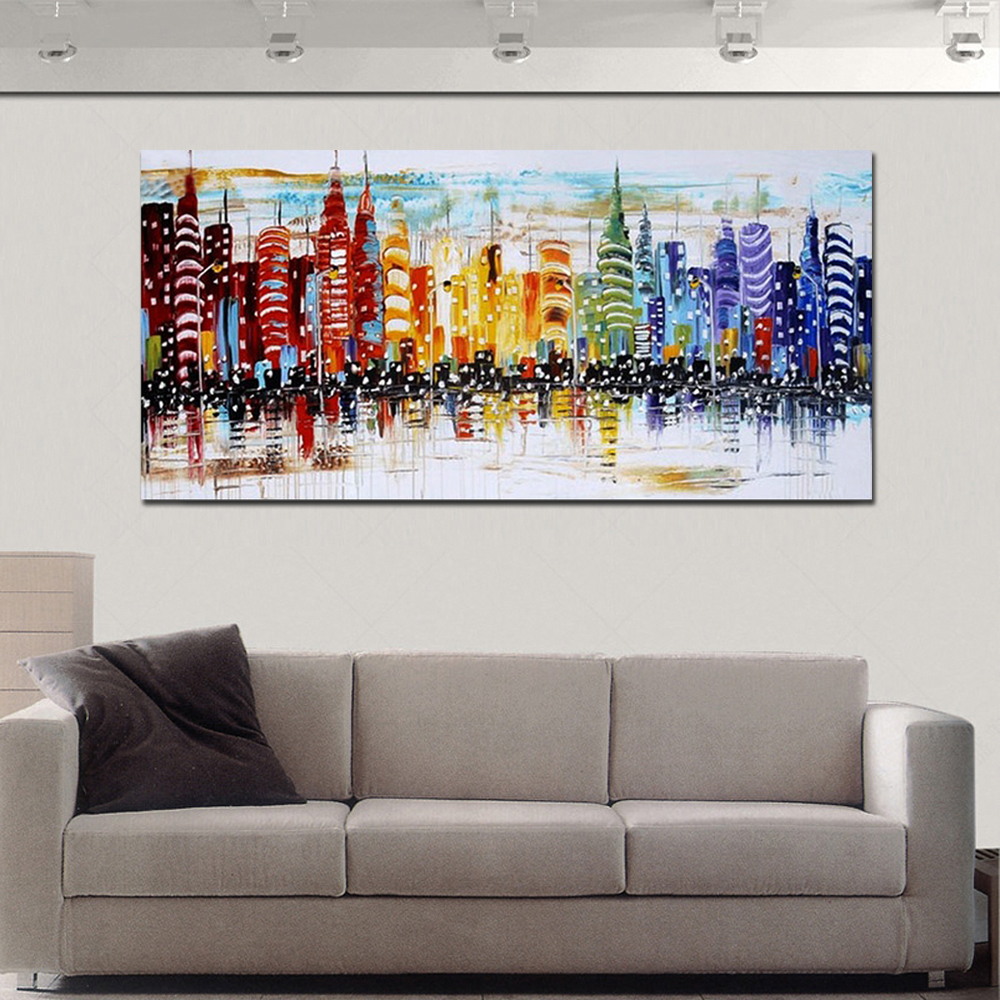 Hand painted abstract colorful buildings landscape oil painting on canvas living room home wall for Oil painting for living room