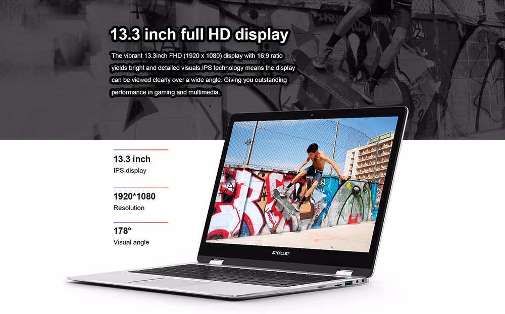 Teclast F6 Pro Notebook 13.3 inch Windows 10 Home English Version Intel Core m3-7Y30 Dual Core 8GB RAM 128GB SSD Fingerprint Recognition Bluetooth 4.2