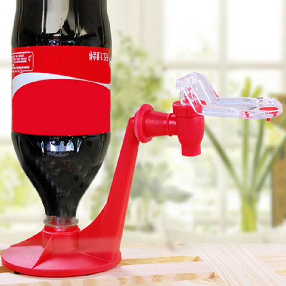 Coke Cola Bottle Dispenser Upside Down Drinking Fountains Beverage Switch Pressure Tool- Red