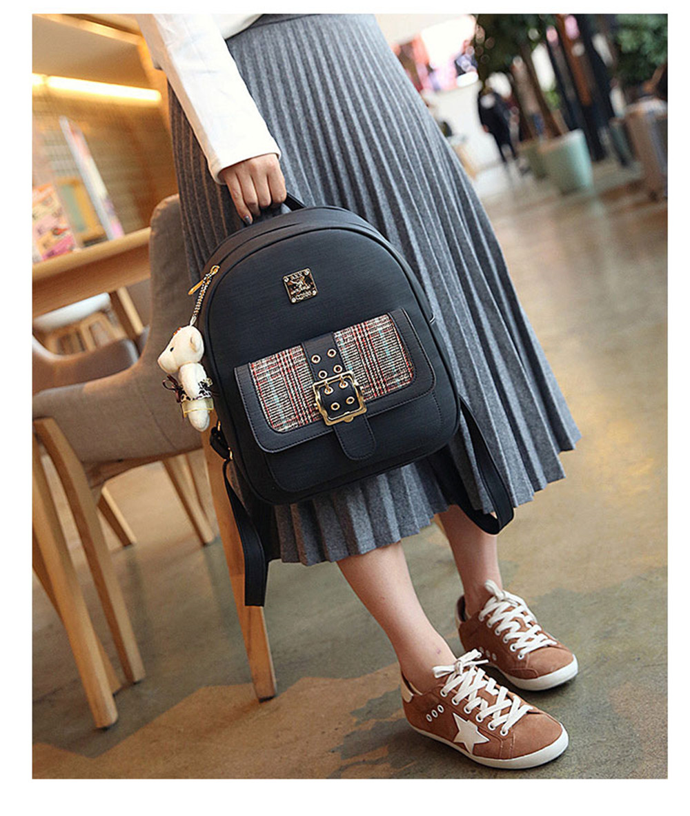 918636194d Backpack Women Fashion Trendy Bag of Fresh College Students Small Fresh  Small Backpack- Black