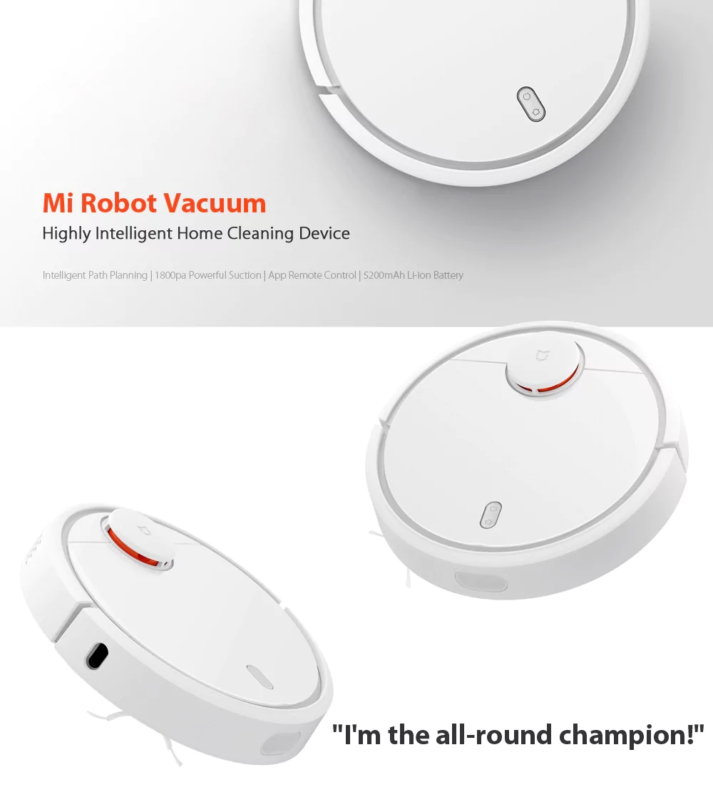 Xiaomi Mi Smart Robot Vacuum Cleaner LDS SLAM Path Planning 1800Pa Suction  5200mAh Battery