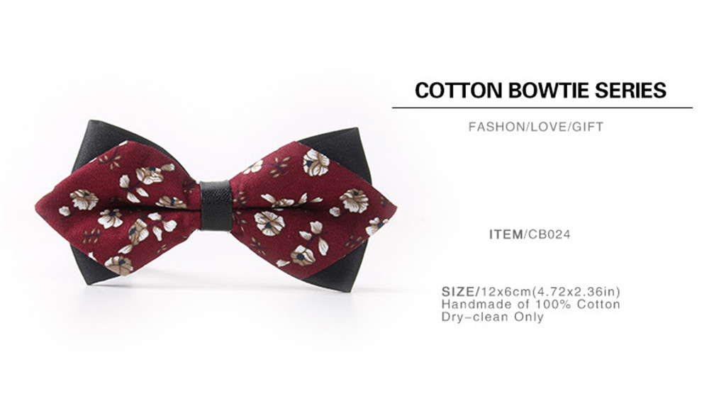Leather Men'S Printing Bowknot