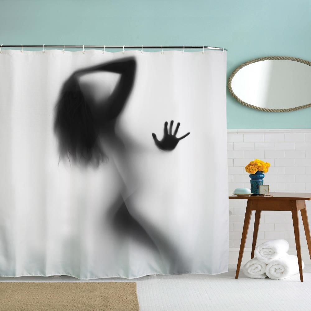 The Sexy Shadow Polyester Shower Curtain Bathroom Curtain High Definition 3D Printing Water-Proof