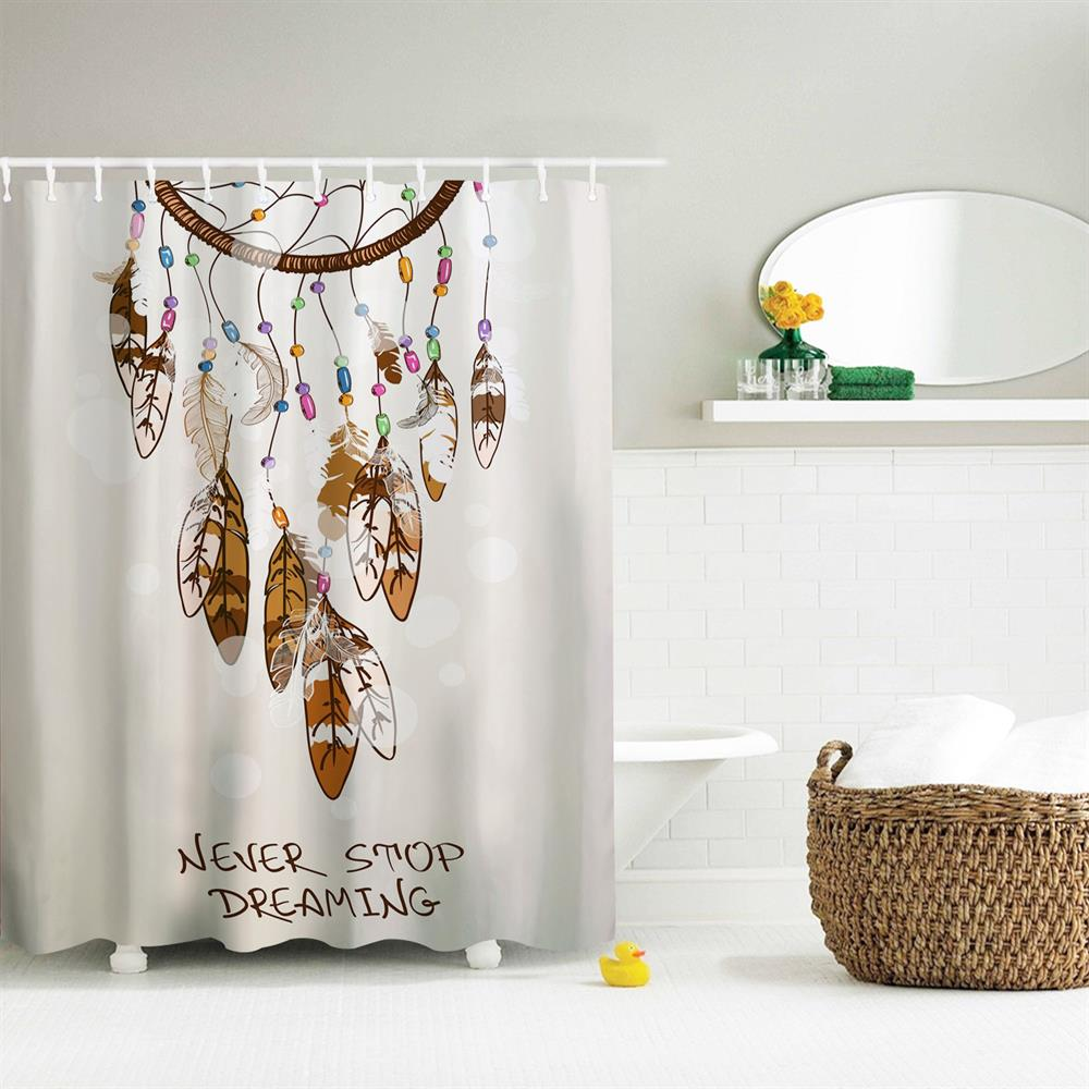 Pursuing Dream Polyester Shower Curtain Bathroom Curtain High Definition 3D Printing Water-Proof