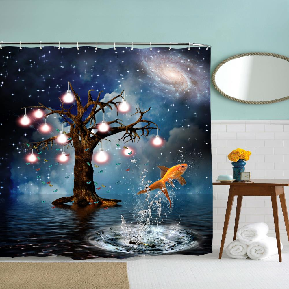 Flying Goldfish Polyester Shower Curtain Bathroom Curtain High Definition 3D Printing Water-Proof