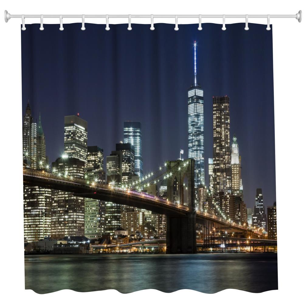 The Overpass at Night Polyester Shower Curtain Bathroom Curtain High Definition 3D Printing Water-Proof