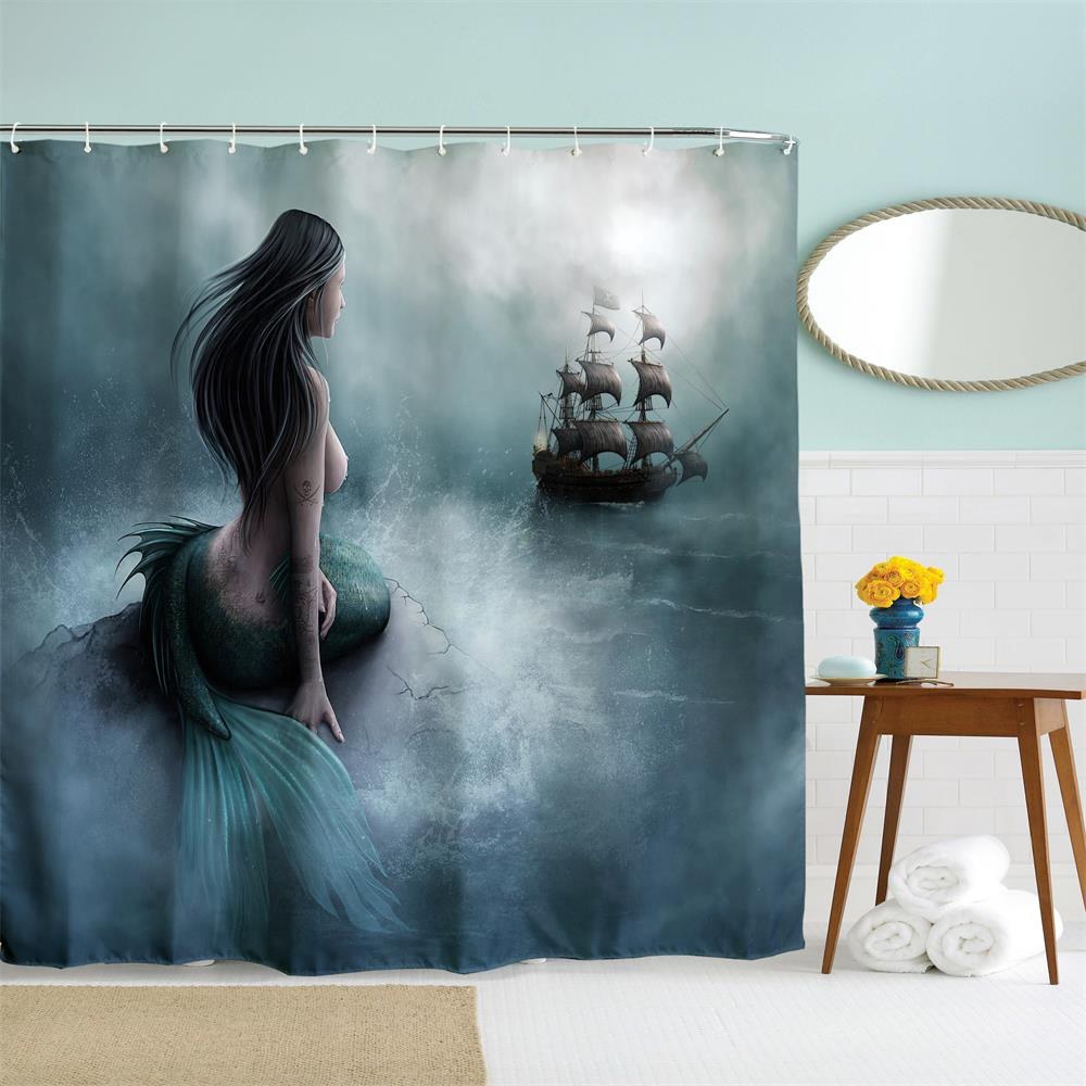 Mermaid's Temptation Polyester Shower Curtain Bathroom Curtain High Definition 3D Printing Water-Proof
