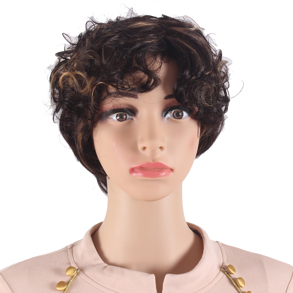synthetic hair that can be heat styled curly style mixcolor brown color synthetic hair wigs 9212