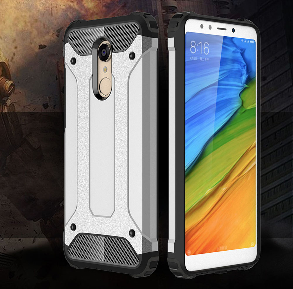 Armor Case for Xiaomi Redmi 5 Plus Silicone and PC Back Cover- Black