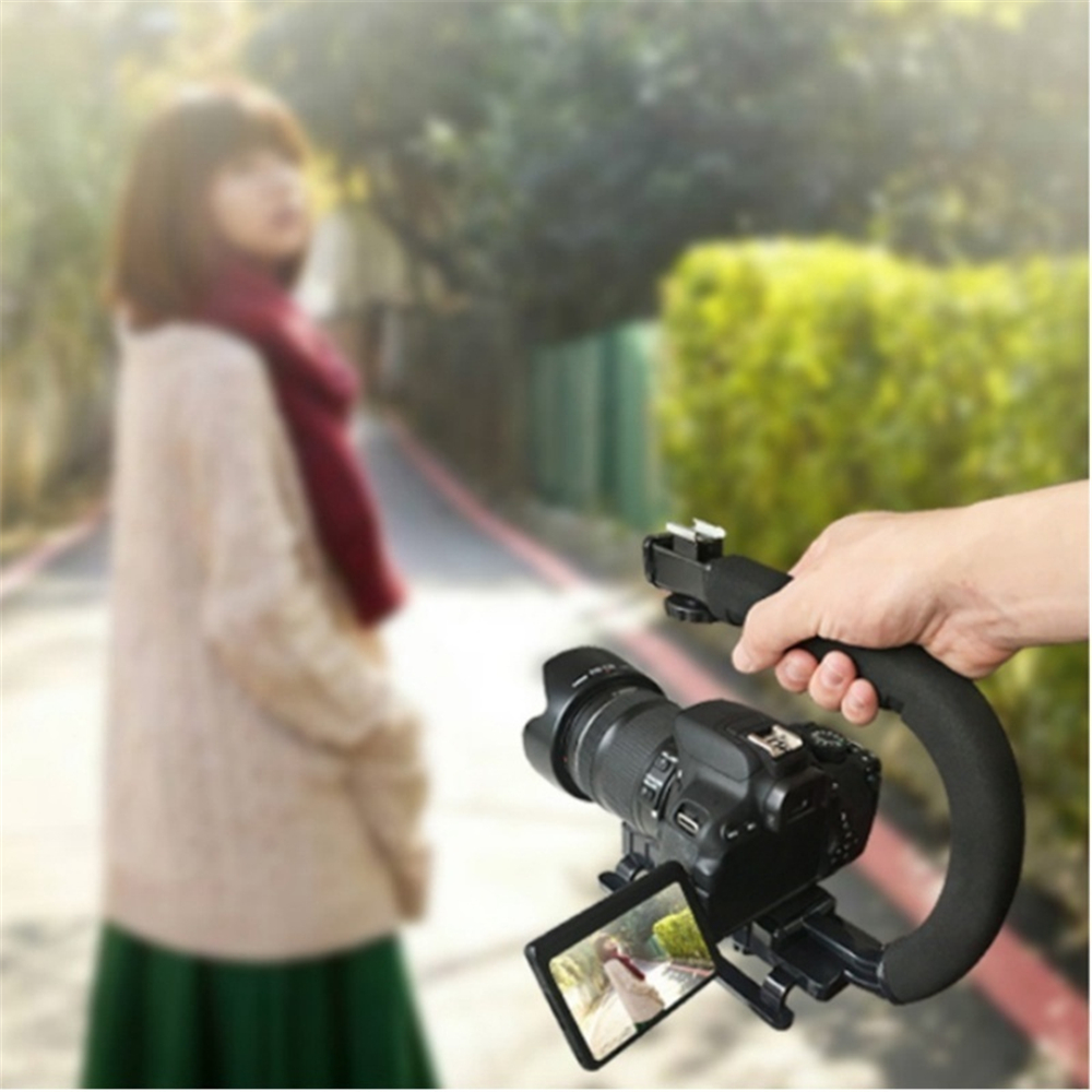 Mobile phone DV Hand Held C-Shaped Shooting Video Stabilizer Hand-held Low  Frame Flash Stands Stabilizer