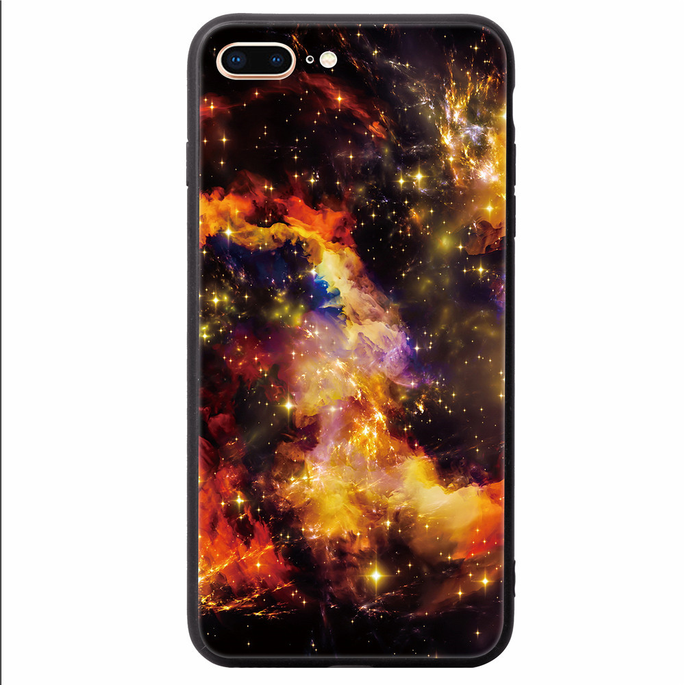 Cover Case for iPhone 8 Plus/7 Plus Fashion Colorful Jade Pattern Toughened Glass