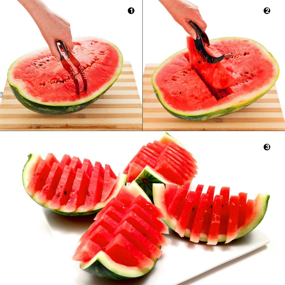 Watermelon Cutter Knife Cucumis Melon Cutter Chopper Fruit Salad Cucumber Vegetable Fruit Slicers Kitchen Cooking Tools- Silver