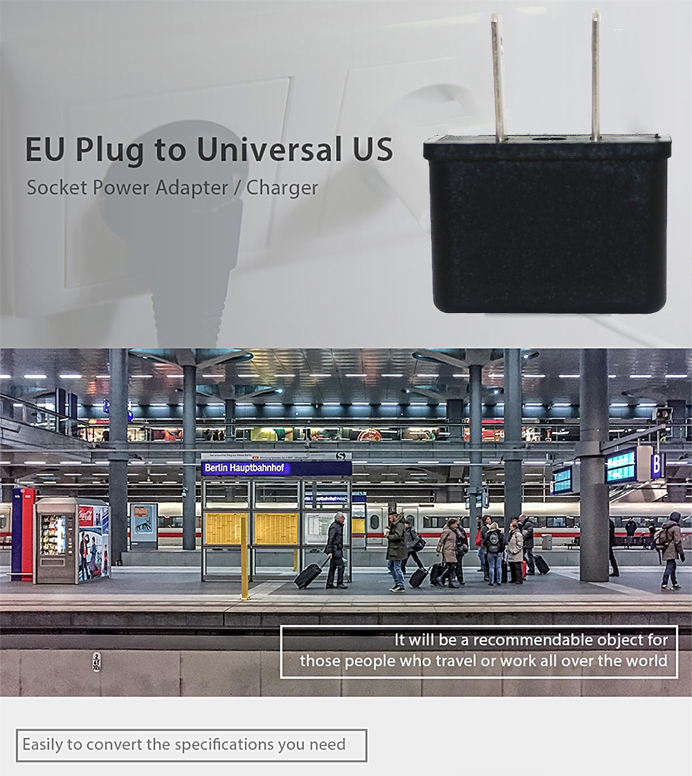 Minismile Universal 6A Convenient EU / US Plug Socket to US Plug Power Adapter