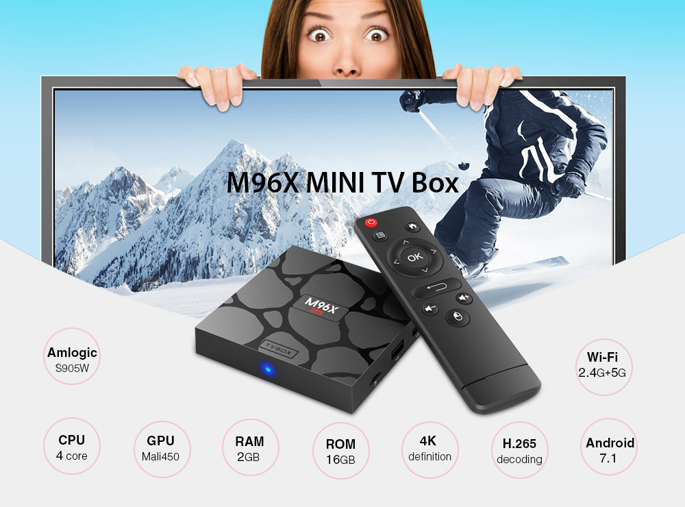 M96X MINI TV Box Amlogic S905W / Android 7.1 / 2GB RAM + 16GB ROM / 2.4G + 5G Wi-Fi / 100Mbps