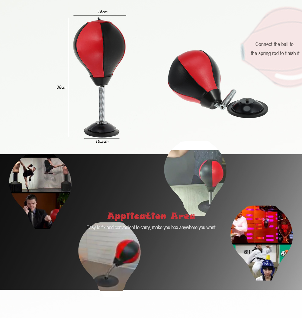 Desktop Punching Bag Adult Stress Relief Training Boxing Ball- Black and red