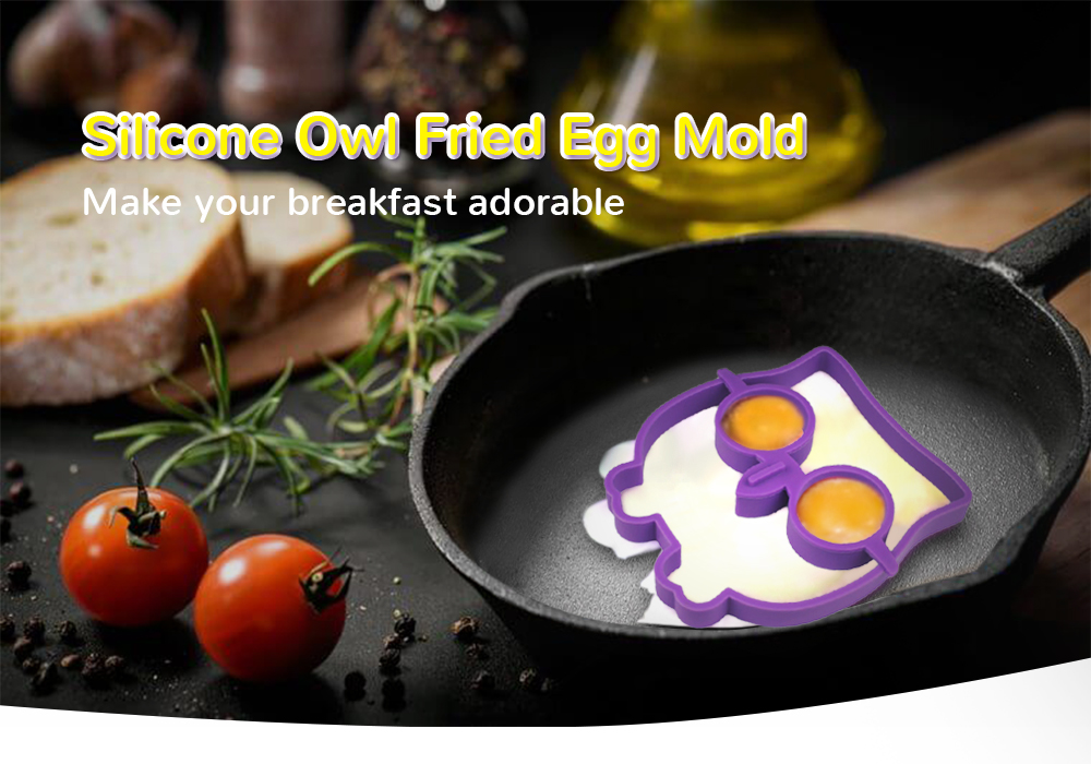DIHE Multifunction Owl Shaped Silicone Fried Egg Ring Mold for Frying Cooking- Purple