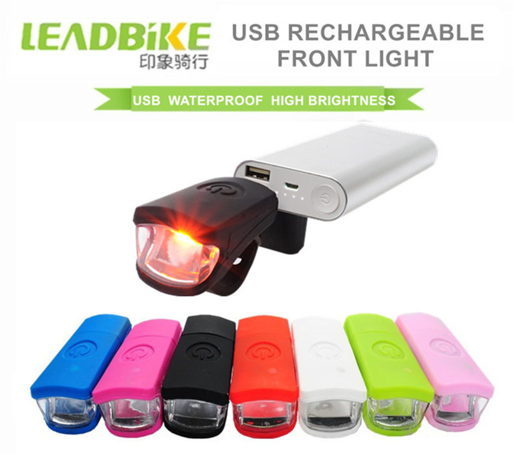 LEADBIKE USB Rechargeable Bicycle Front Light 3W LED Waterproof Silicone MTB Road Bike Headlight Cycling Flash Lamp