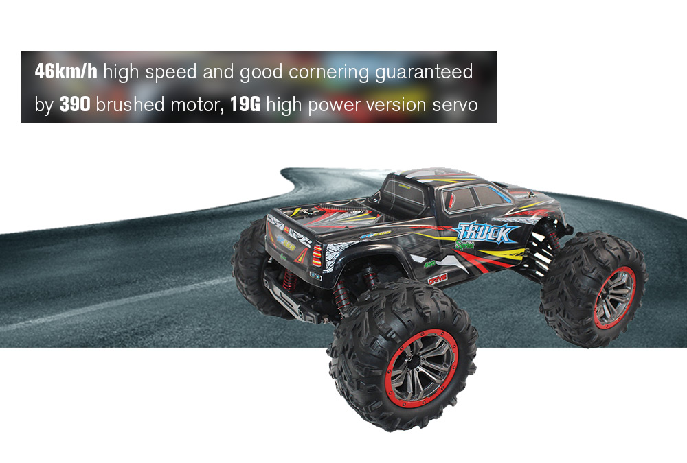 XINLEHONG TOYS 9125 1:10 Brushed 4WD 46km/h Fast Speed Off-road RC Car- Red with Black