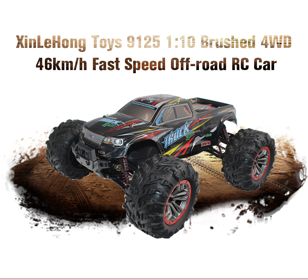 XINLEHONG TOYS 9125 1:10 Brushed 4WD 46km/h Fast Speed Off-road RC Car- Blue and Black