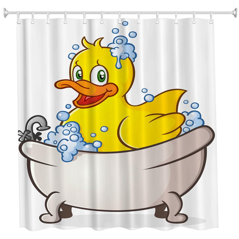 Small Yellow Duck in Bath Polyester Shower Curtain Bathroom High Definition 3D Printing Water-Proof