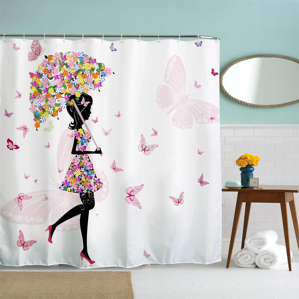 Umbrella Girl Polyester Shower Curtain Bathroom High Definition 3D Printing Water-Proof
